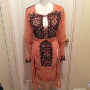 Free People Tunic S Orange Embroidered Long Sleeve